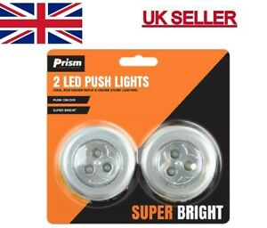 2 LED Touch Push On Off Light Self Stick On Click Battery Button Light New UK.