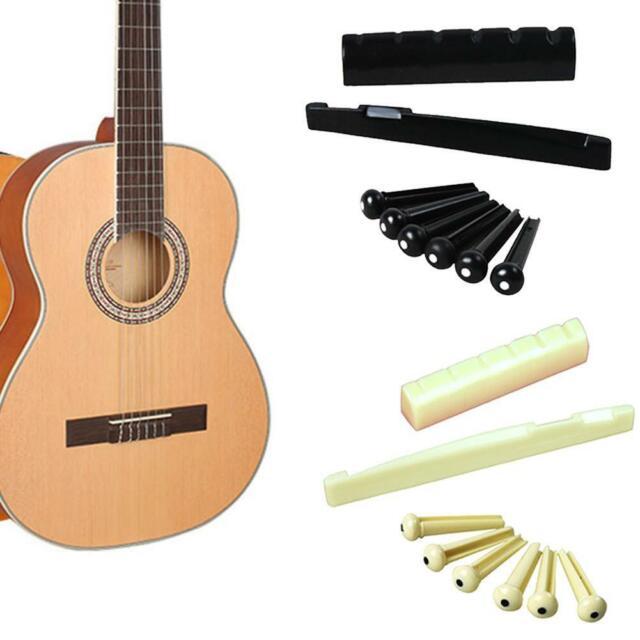6 String Acoustic Guitar Bridge Pins Saddle Nut Plastics