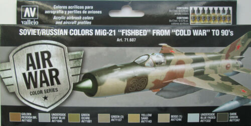 Vallejo Model Air Val71607 MiG-21 Fishbed cold war to 1990/'s  8 colour paint set