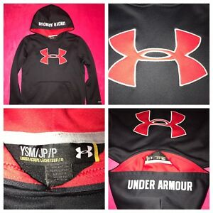 4f8fffb9 Under Armour Boys Sweater Hoodie Black Red Logo Cold Gear Storm YOUTH S  Kapuzenpullover