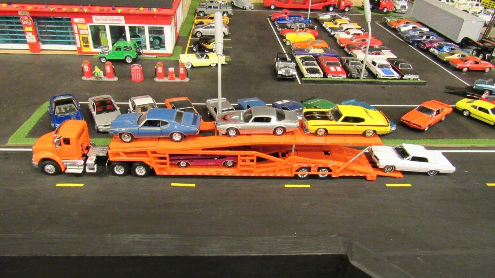 SPECCAST Orange IH 8600 SEMI CAR TRANSPORT TRANSPORTER CARRIER TRAILER 1 64  MTB