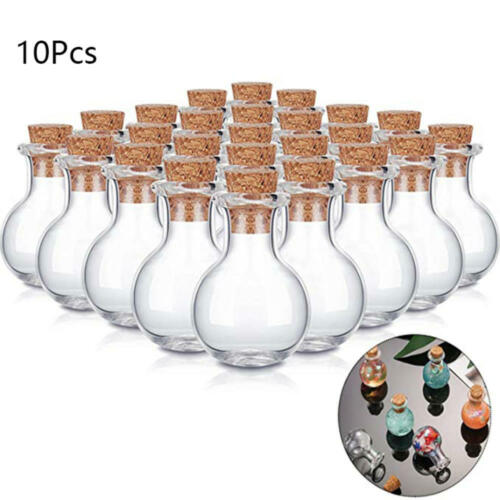 10 x Transparent Message Vials Small Glass Empty Jars with Cork Wishing Bottle