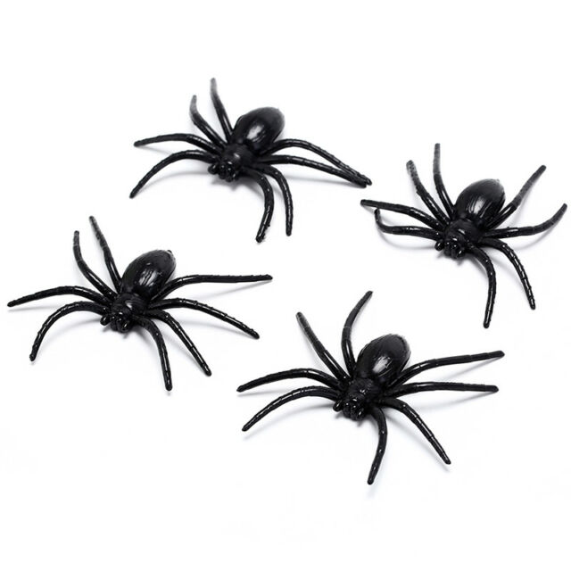 4X black plastic spider funny fake spiders halloween party haunted housedecor HU