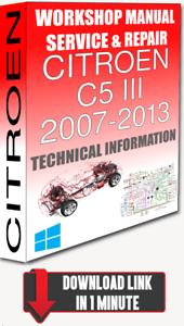 Service Workshop Manual & Repair CITROEN C5 III 2007-2013 ...