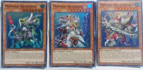 Abyssteus Lot Super Rare YuGiOh Abyssleed Mermail Abyssmegalo