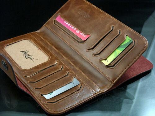 Retro Men/'s Clutch Leather Long Wallet Pockets ID Card  Cente Bifold Purse Brown