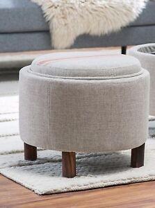 Pleasing Details About Neutral Red Stripe Round Storage Ottoman Tray Top Home Living Room Furniture Den Inzonedesignstudio Interior Chair Design Inzonedesignstudiocom