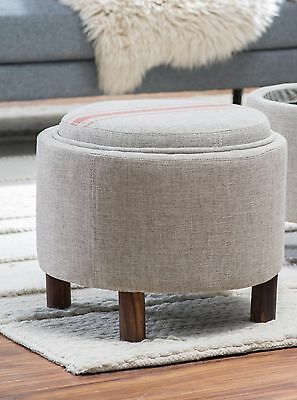 Incredible Neutral Red Stripe Round Storage Ottoman Tray Top Home Living Room Furniture Den Ebay Pdpeps Interior Chair Design Pdpepsorg