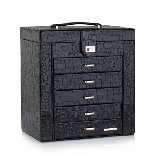 Large Black Leather Jewelry Box Case Storage Organizer Display Girls Women Gift