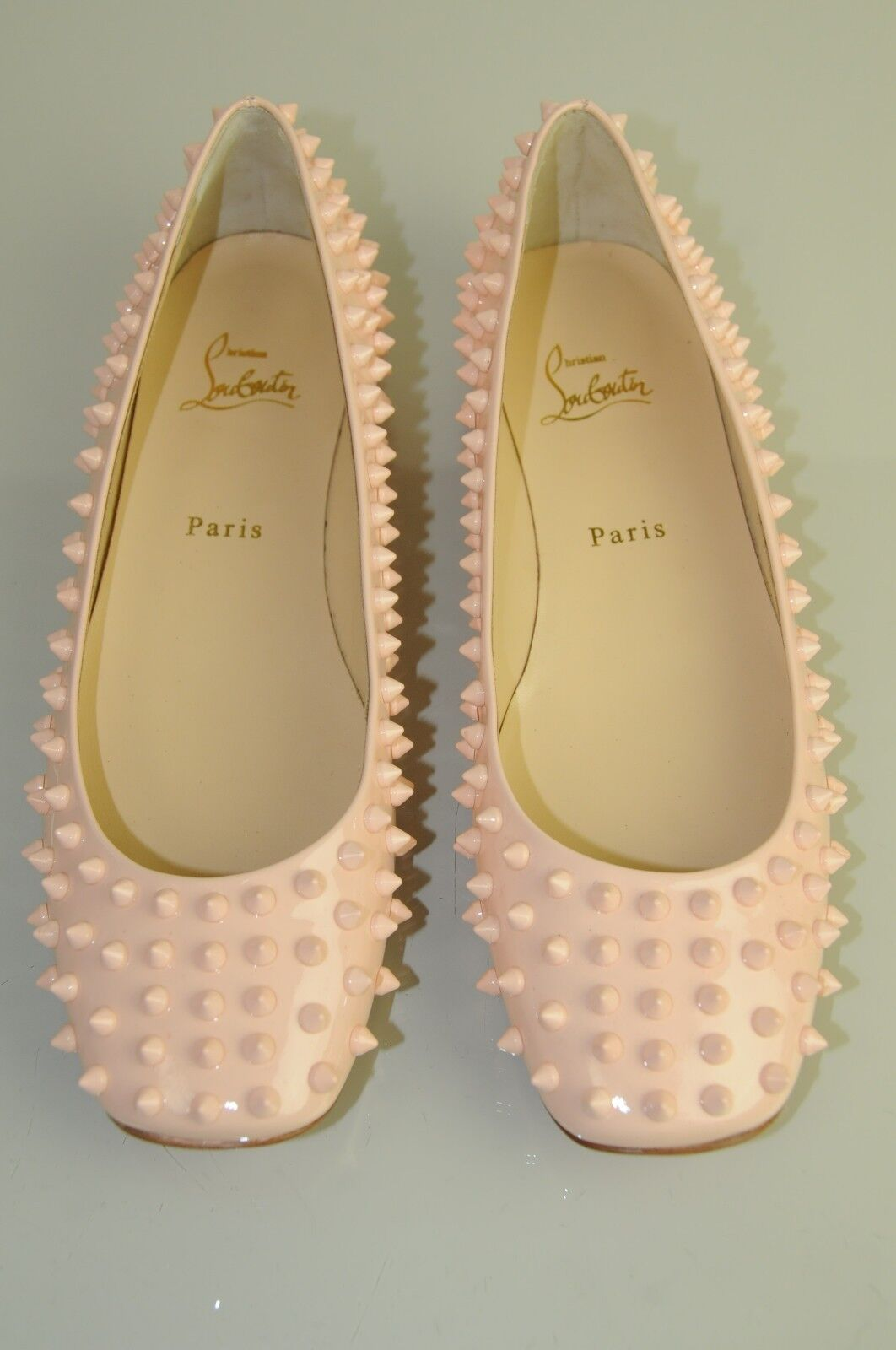 bbad91e1dea NEW Christian Louboutin Gozul Spikes Flat Patent NUDE Pink Ballets Shoes  40.5