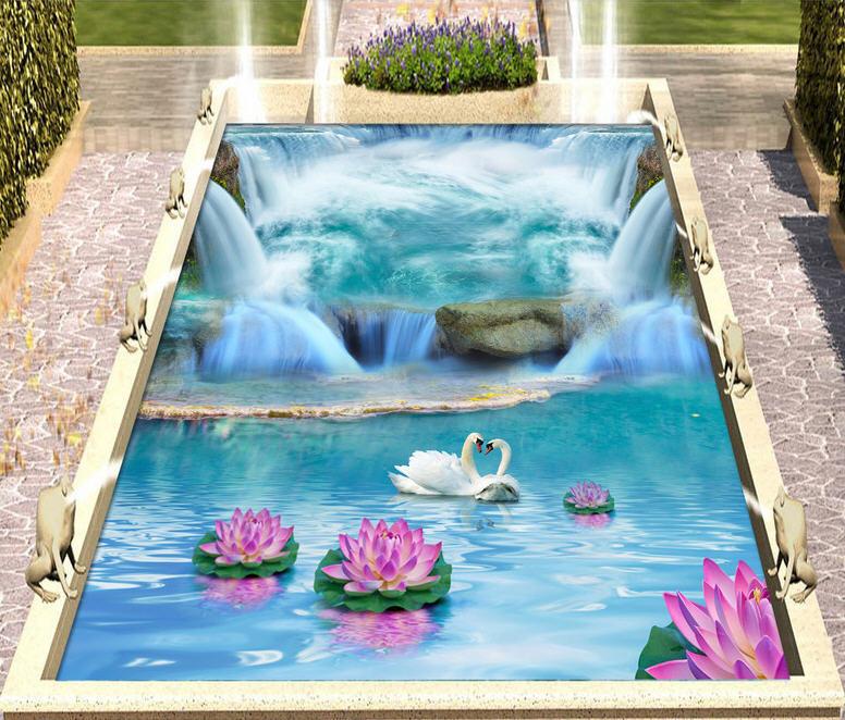 Great Waterfalls 3D Floor Mural Photo Flooring Wallpaper Home Print Decoration