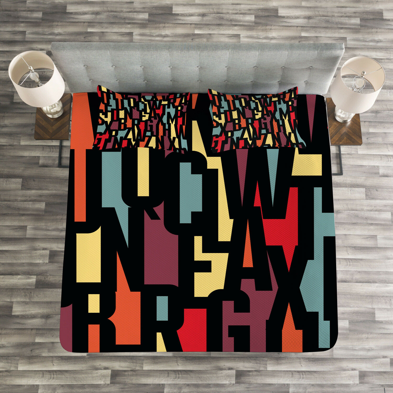 Abstract Quilted Bedspread & Pillow Shams Set, Fractal Funky Forms Print