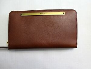Fossil-Liza-Zip-Leather-Wallet-Clutch-Retractable-Wristlet-Strap-Brown