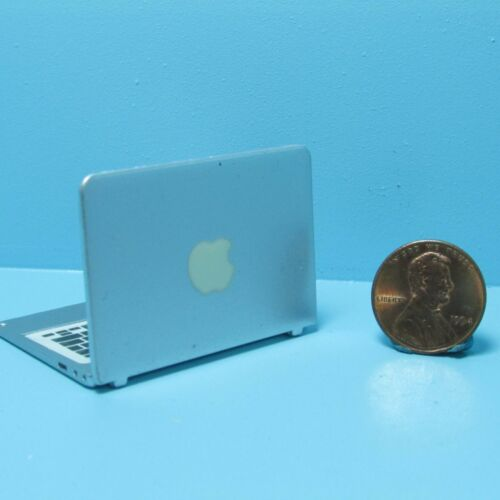 Dollhouse Miniature Silver Laptop Open and Closes ~ G7067