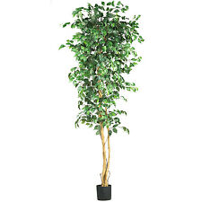 NEW FICUS TREE SILK DECORATIVE ARTIFICIAL PLANT GREEN NATURAL LEAVES FAKE FAUX