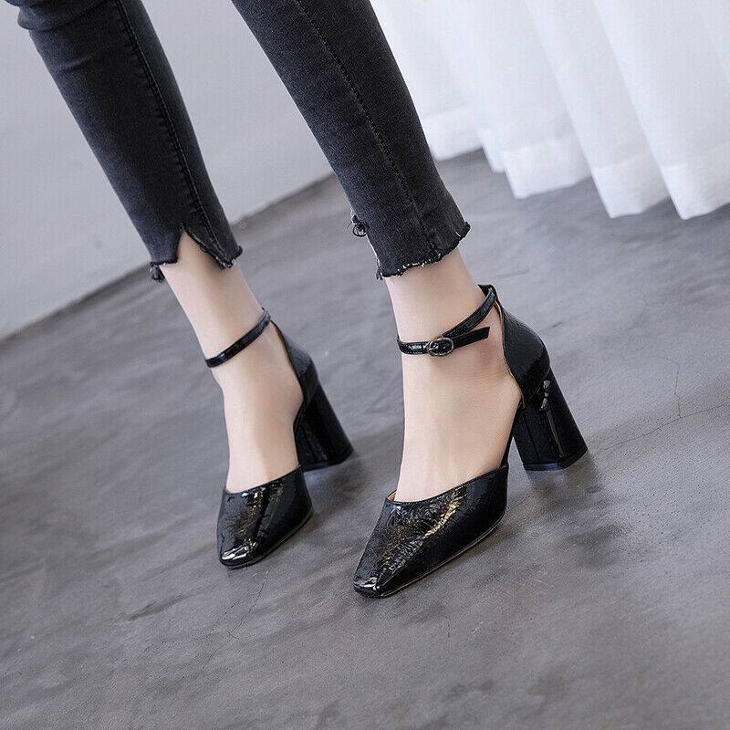Ladies OL Party Dress Patent Leather Pumps High Chunky Block heels Square Toe sz
