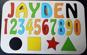 Personnalise-Enfant-039-s-Name-Puzzle-jusqu-039-a-8-lettres-educatif-en-bois-jouet-H1
