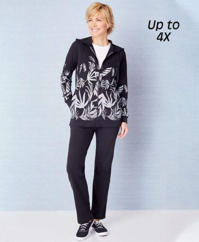 Printed Hoodie Jacket /& Active Pants 2-Pc Women/'s Set Black /& White Size Large