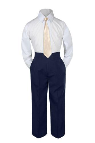 3pc Champagne Tie  Suit Shirt Pants Set Baby Boy Toddler Kid Uniform S-7