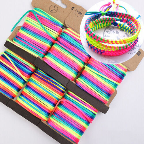 10M 2.5mm Multicolor Thread Cord Braided Bracelet String Knitting Yarn Rope .T