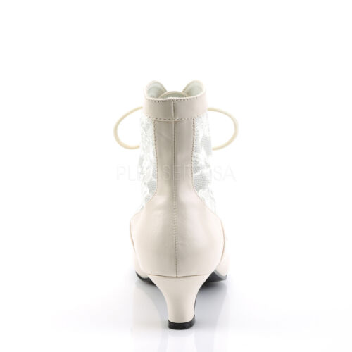 """BIG SALE Ivory Lace 2/"""" Heel Victorian Pioneer Granny Costume Ankle Boots 6"""