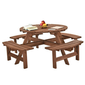 Wooden 6-8 Seaters Round Picnic Table /& Bench Chair Set Garden Patio Furniture