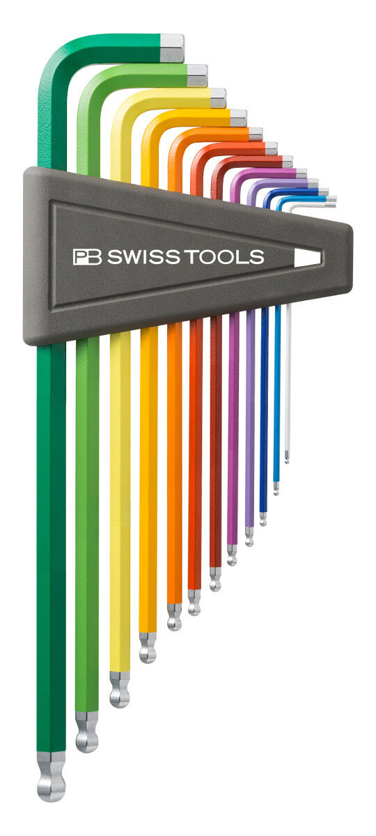PB Swiss Tools PB 212ZL.H-12 RB Hex Key Set Ballpoint Inch Rainbow Long