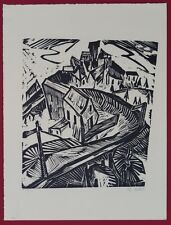 Charles Crodel Kurve bei Probstzella Holzschnitt 1920 handsigniert