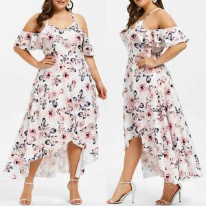 Plus-Size-Fashion-Women-Floral-Printed-Short-Sleeve-V-Neck-Cold-Shouder-Dress