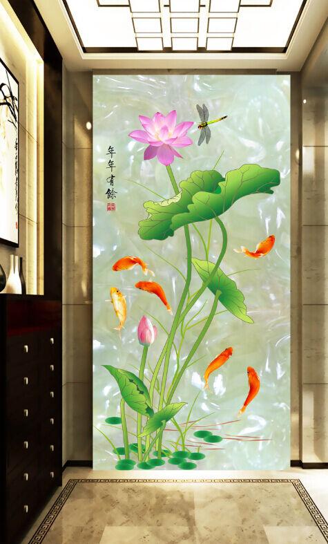 3D Lotusblatt Goldfisch 5  Fototapeten Wandbild Fototapete BildTapete Familie DE