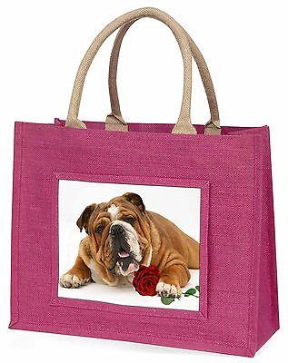 Rot Bulldog mit rotem Rose Große Rosa Einkaufstasche Weihnachtsgeschenk,