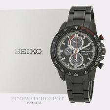 Authentic Seiko Men's Sportura Perpetual Solar Chronograph Watch SSC373