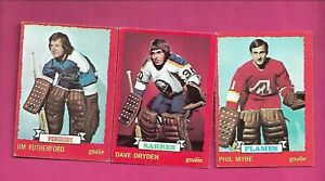 1973-74-OPC-PHIL-MYRE-DAVE-DRYDEN-JIM-RUTHERFORD-GOALIE-CARD-INV-C8800