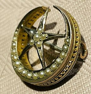 Victorian Seed Pearl Gold Star And Crescent Brooch