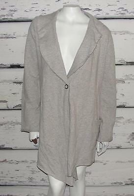 LUCY ACTIVEWEAR~HEATHERED~ASYMMETRIC DRAPERY SLOUCHY DUSTER CARDIGAN SWEATER~M