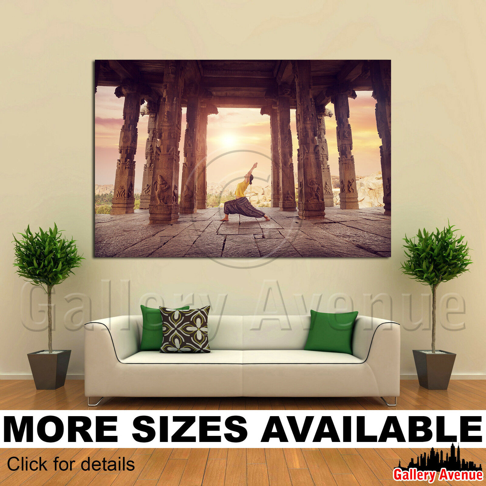 A Wall Art Canvas Picture Print - Yoga Ruined Ancient Temple Hampi India 3.2