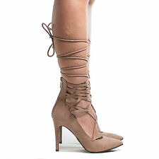 Lydia22 Pointed Toe Cuffed Corset Lace Up Ankle Wrap Stiletto Heels