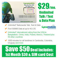 Free 30 days - LycaMobile Prepaid LYCA SIM Card $29 Unlimited Talk Text & Data