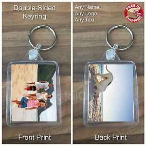 Personalised Photo Keyring Square Double Sided Great Gift