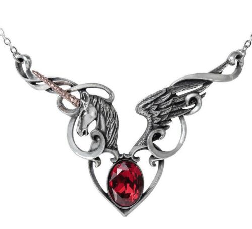 The Maiden/'s Conquest Unicorn Winged Heart Necklace Pendant Alchemy Gothic P836