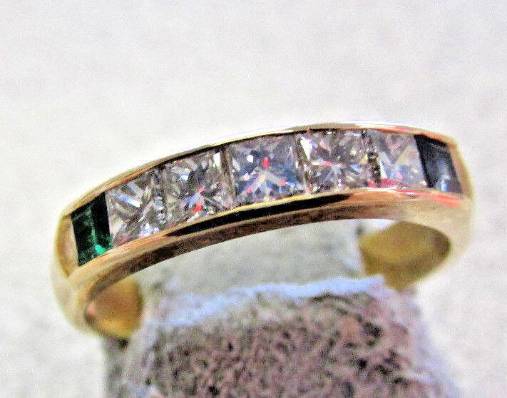 High Quality 14k  Princess cut Diamond,bluee Sapphire and Emerald Ring size 5.5