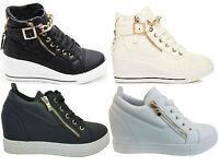 Womens Ladies Wedge Trainers Mid Heel Sneakers Platform High Top Hi Ankle Boots