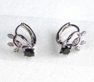 Details About Hoop Huggie Earrings Black Cubic Zirconia Crystal White Gold Plated Uk