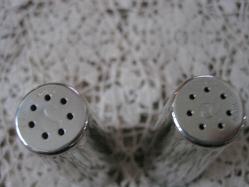 """Mid Century Salt and Pepper Shakers Chrome 3/"""""""