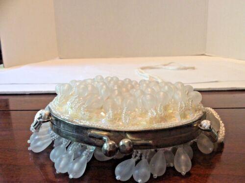 Purse Sequined Ivory Handbag Beadedamp; Dangly Teardrop OZuXPkiTwl