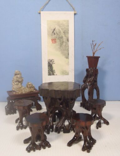 Antique Chinese dollhouse mini hand carved root wood furniture c.early 1900s
