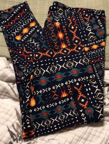 Blue Background Lularoe TC2 Aztec Design Leggings NWOT