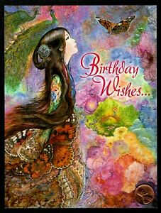 JOSEPHINE-WALL-Asian-Girl-Butterflies-Bridge-Flowers-GLITTERED-Greeting-Card