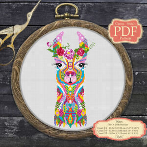 Mandala-Llama-Modern-Cross-stitch-PDF-Pattern-Zentangle-animals-058