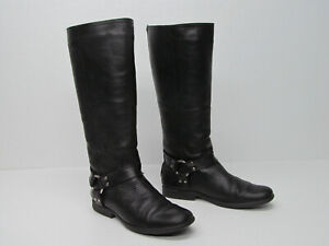 bc1ef244003 Details about STEVE MADDEN HOLDEN BLACK LEATHER HARNESS TALL RIDING BOOTS  Size WOMENS 9.5 M